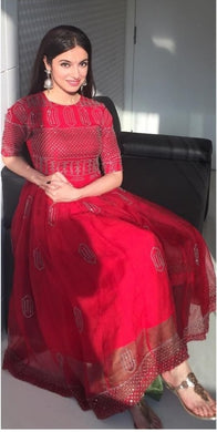 Red Colore Bollwood Style Wedding Wear Hevy Embroidery Work Gown