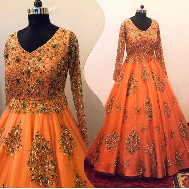 Orange Color Bollywood Styledesiner Wear Salwar Dupata