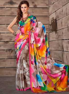 New Trendy Latest Collection Multi Colour Soft And Smooth Golden Zari Digital Print Saree