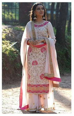 Bollywood Baby Pink Color Georgtte Material Full Embroidary Work Suit