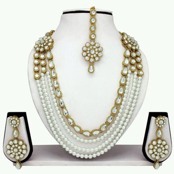 Designer Traditional White Pearl Long Necklace Set With Maang