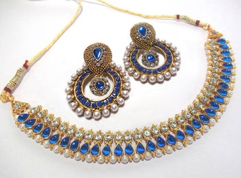 92d4e7779fd73 Golden Blue Diamond Pearl Polki Necklace Set