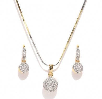 Gold & Silver-toned Stone-studded Jewellery Set