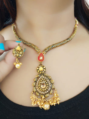 Alloy Metal Exclusive Kundan Afghani Tribal Jewellery Set For Women (multicolour)