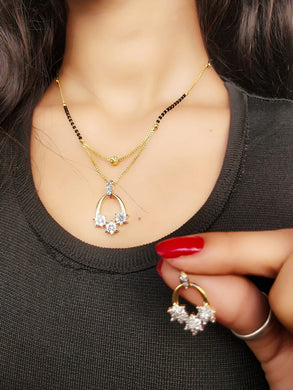 American Diamond Finish Alloy Metal Charm Necklace