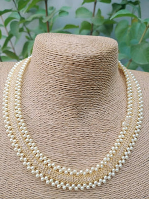 Golden Alloy And Pearl Party Wear Necklace With Earrings For Women