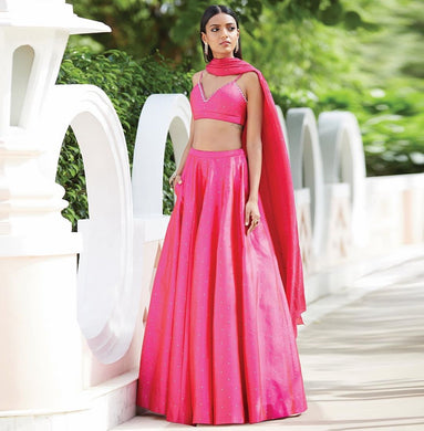 New Designer Pearl Work Taffeta Silk Lehenga Choli In Pink Color With Cancan