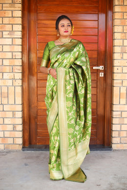Exclusive Designer Banarasi Silk Saree In Mehandi Green Color