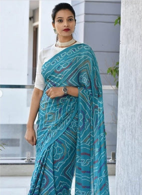 Awesome Designer Bandhni Digital Printed Saree In Sky Blue Color