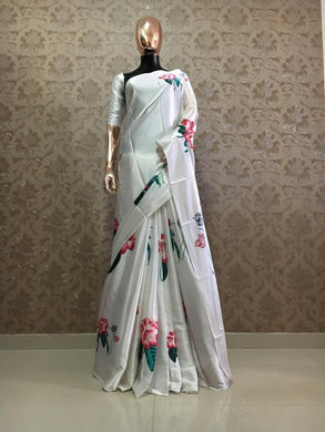 Off White Color Satin Classic Designer Saree