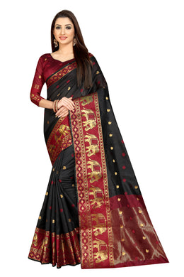 Gajji Black Banarasi Rich Pallu Saree