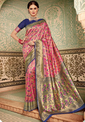 Designer Blue & Pink Banarasi Silk Kanjivaram Work Smooth Saree