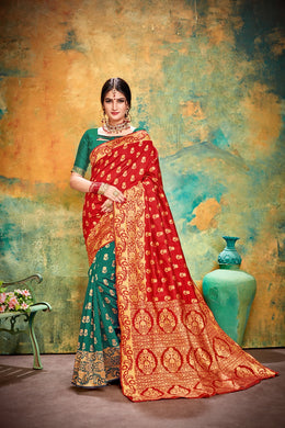 Designer Green & Red Banarasi Silk Kanjivaram Work Smooth Saree