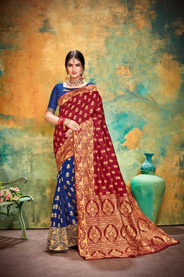 Designer Blue & Red Banarasi Silk Kanjivaram Work Smooth Saree