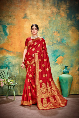 Designer Red Banarasi Silk Kanjivaram Work Smooth Saree