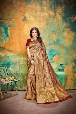 Designer Maroon Banarasi Silk Kanjivaram Work Smooth Saree