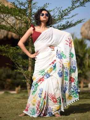 Presenting New White Multicolor Chanderi Linen Cotton Saree