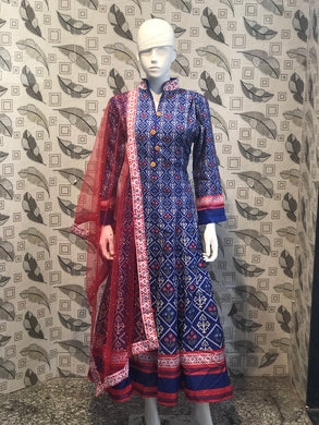 Blue Color New Muslin Cotton Printed Regular Wear New Designer Ready-made Long Kurti