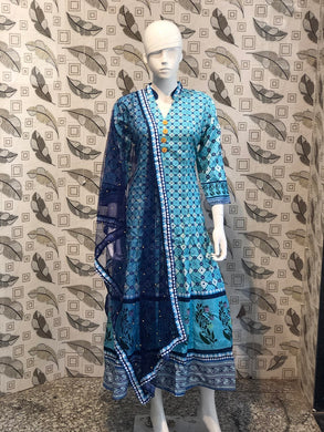 Powder Blue Color New Muslin Cotton Printed Regular Wear New Designer Readymade Long Kurti