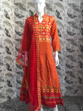 Orange Color New Muslin Cotton Printed Regular Wear New Designer Readymade Long Kurti