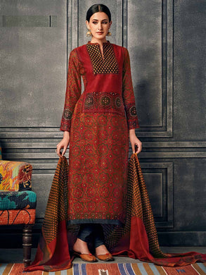 Deep Red Color New Muslin Cotton Printed Regular Wear New Designer Readymade Long Kurti