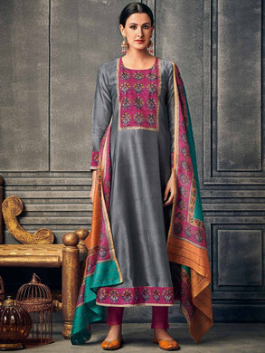 Gray Color New Muslin Cotton Printed Regular Wear New Designer Readymade Long Kurti