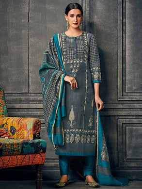 New Gray Color New Muslin Cotton Printed Regular Wear New Designer Readymade Long Kurti