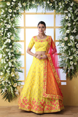 Yellow Art Silk Embroidery Lengha