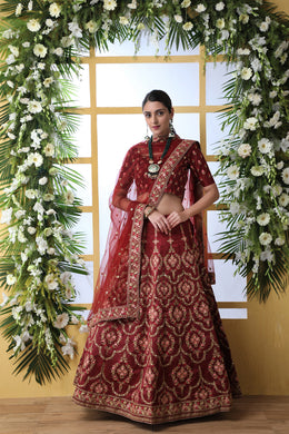 Maroon Art Silk Embroidery Lengha