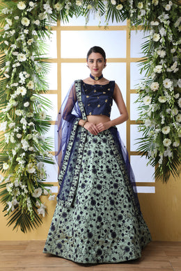 Navy Blue Art Silk Embroidery Lengha