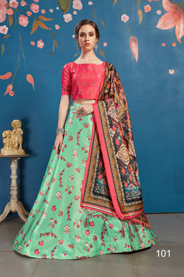 Mint Green Art Silk Digital Printed Lehengha