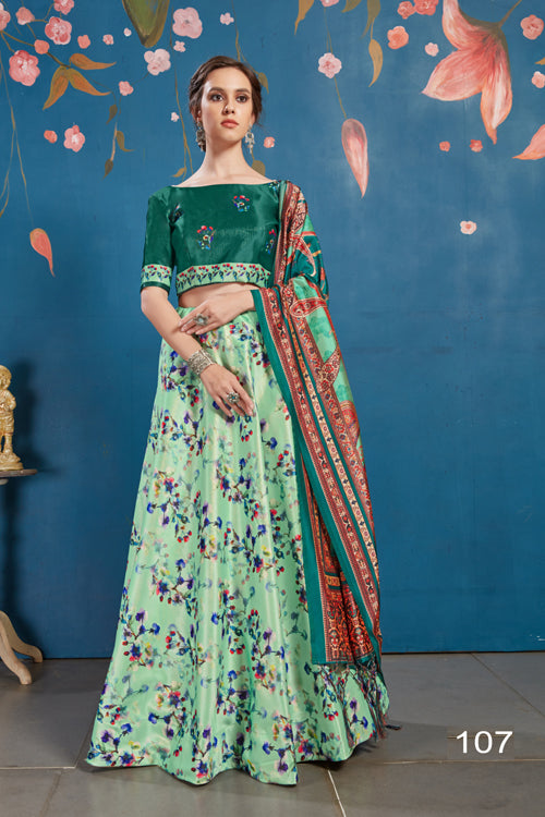 Mint Green Silk Digital Printed Lehengha