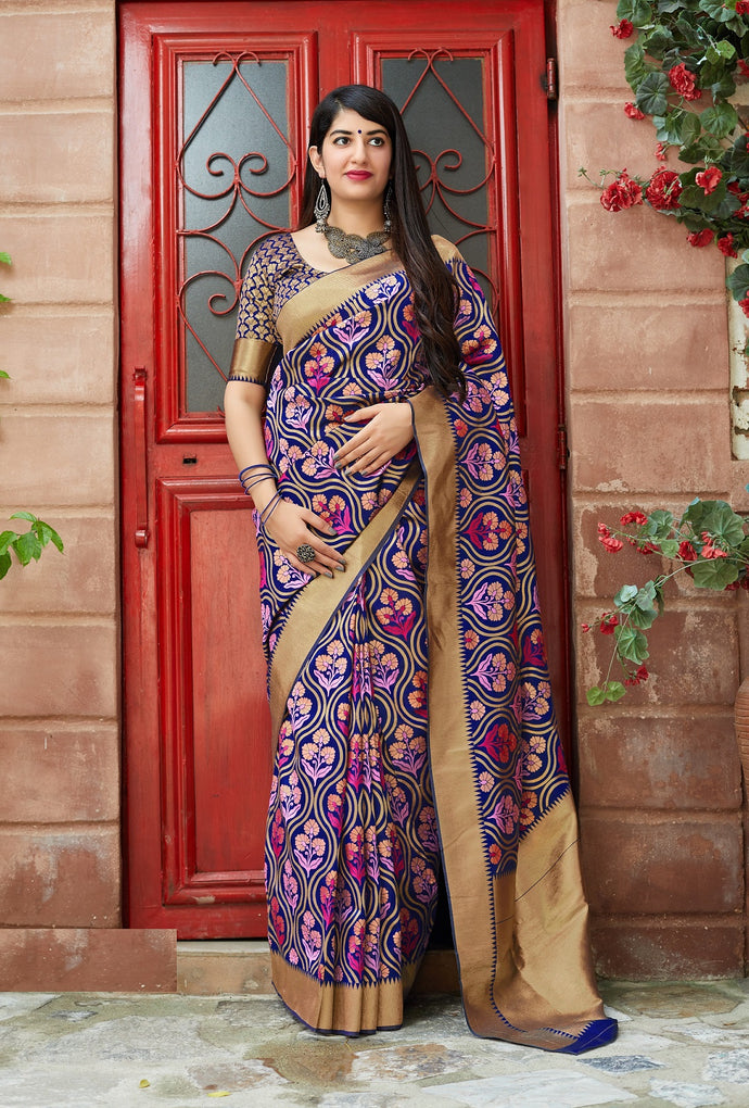 Blue Color Festive Wear Banarasi Silk Saree With Fancy Blouse