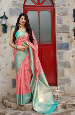 Peach Banarasi Silk Traditional Woven Saree With Contrast Border And Pallu