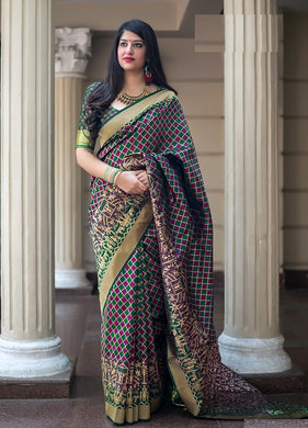Multicolor Banarasi Silk Saree With Blouse