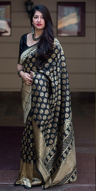 Black Color Classic Wear Banarasi Silk Jacquard Work Saree