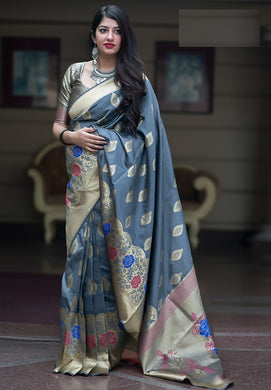 Grey Color Classic Wear Banarasi Silk Jacquard Work Saree