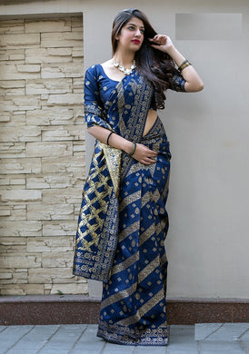 Blue Color Classic Wear Banarasi Silk Jacquard Work Saree