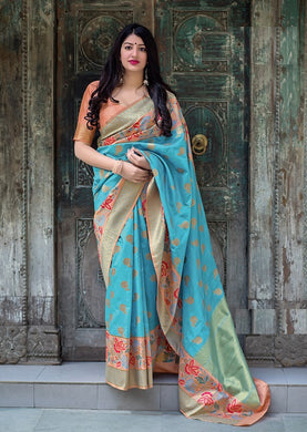 Sky Blue Color Banarasi Silk Fancy Traditional Party Wear Saree