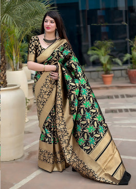 Multicolor Banarasi Silk Fancy Traditional Party Wear Saree