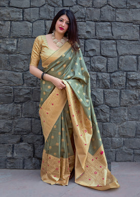 Grey Color Banarasi Silk Fancy Traditional Party Wear Saree
