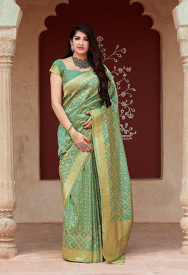 Pista Color Banarasi Silk Saree With Blouse