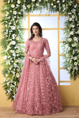 Peach Designer Net Gown