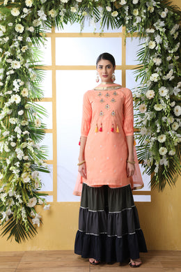 Peach Soft Cotton Salwar Suit