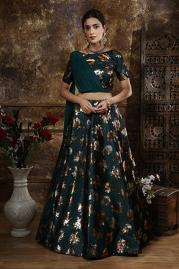 Taffeta Satin Designer Lehenga Choli In Teal Green Color