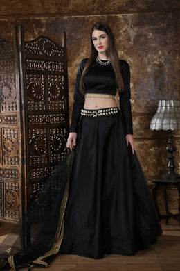 Taffeta Satin Fesitval Lehenga Choli In Black Color