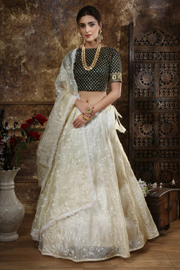 Off White Color Orgenza Wedding Lehenga Choli With Resham Embroidery Work