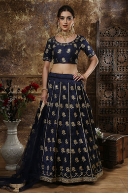 Mirror Work Thai Silk Festival Lehenga Choli In Navy Blue Color