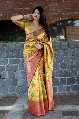 New Trendy Festival Indian Yellow Color Heavy Soft And Smooth Golden Zari Digital Print S