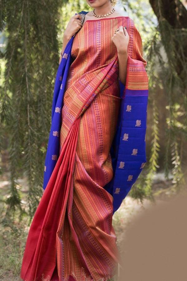 New Trendy Festival Indian Multicolor Color Heavy Soft And Smooth Golden Zari Digital Print Saree